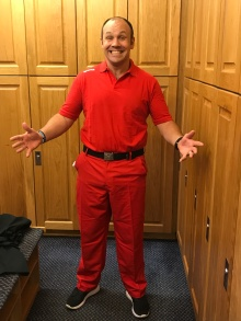 Red shirt and pants